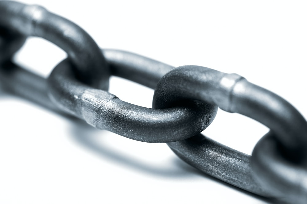 grey metal chain on white background