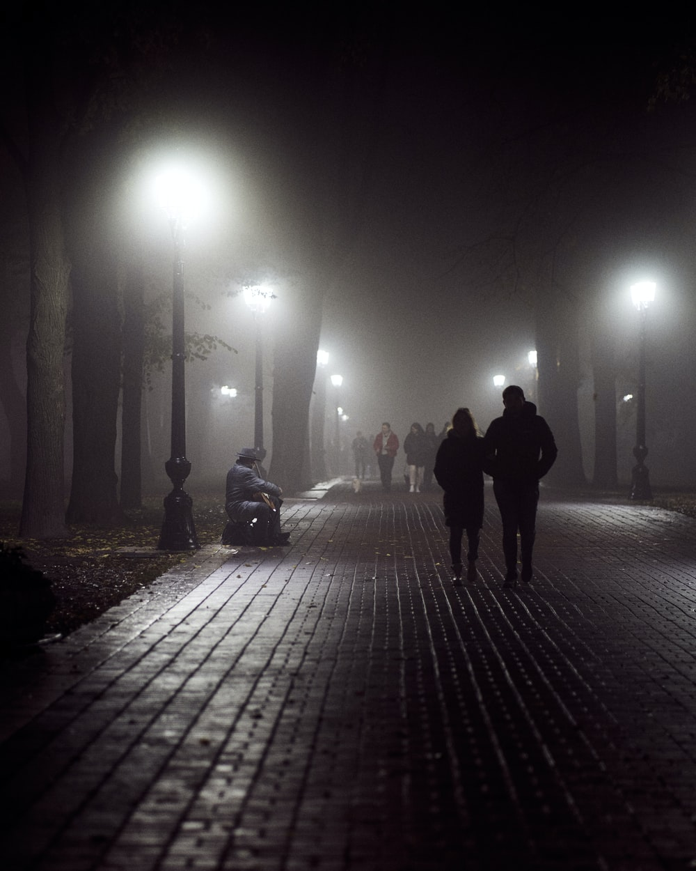 silhouette of 2 people walking on sidewalk during night time