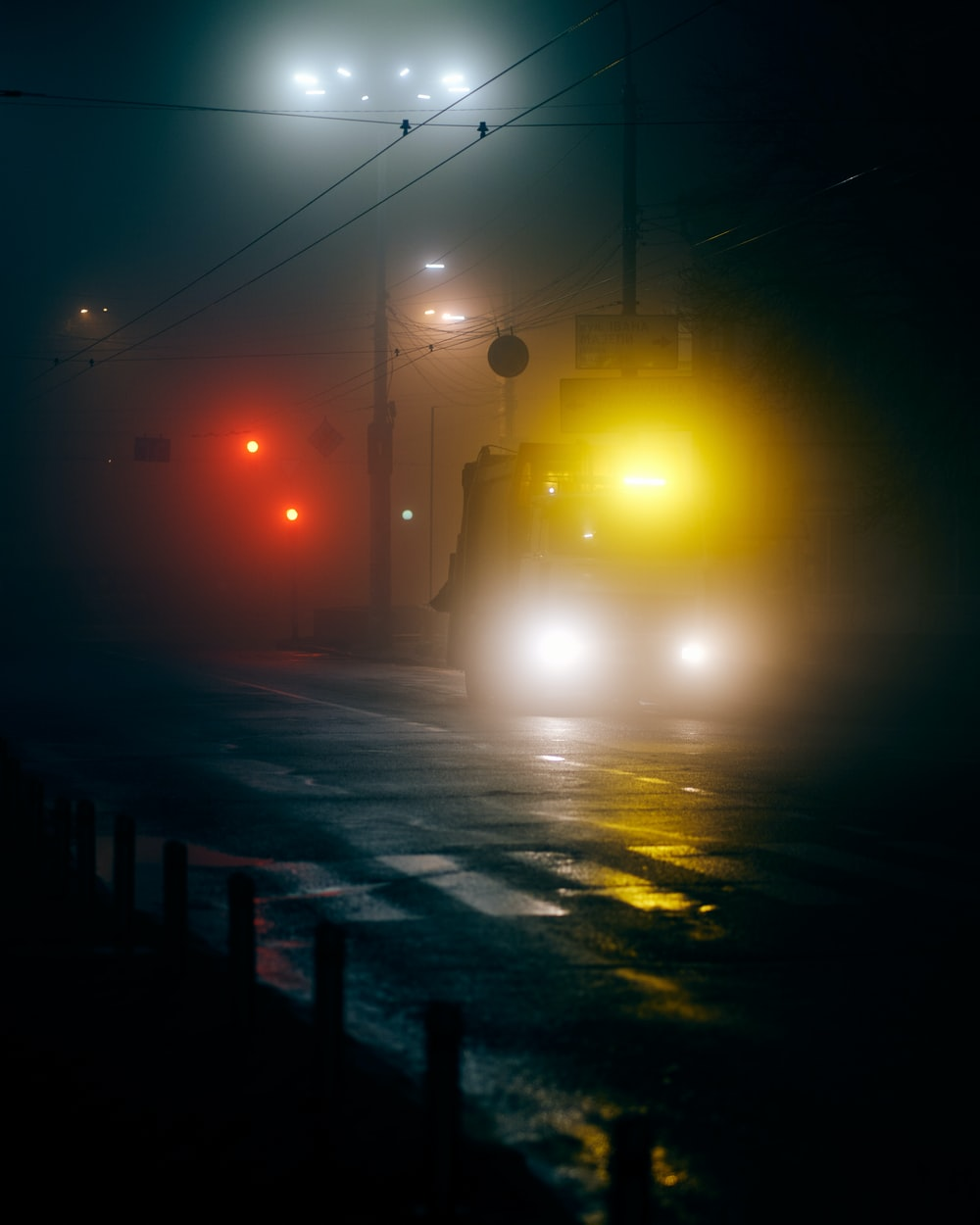 black asphalt road during night time