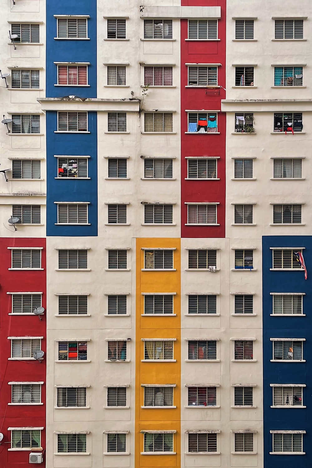 white red and blue concrete building