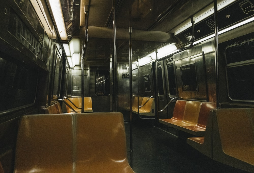 brown and gray train seats