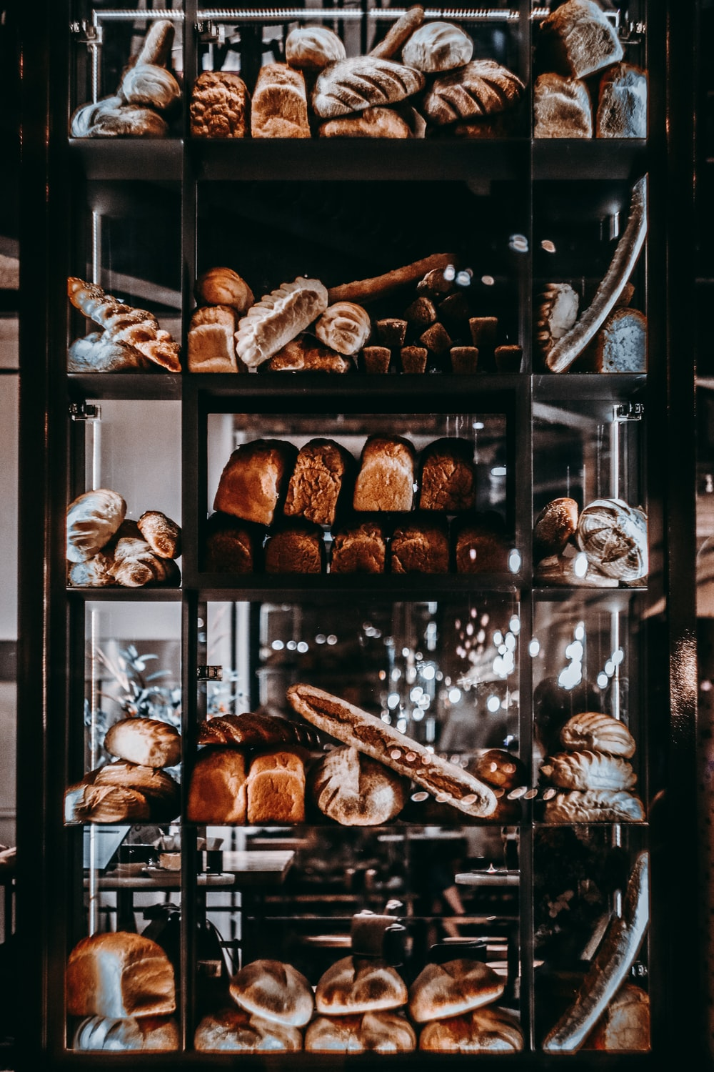 brown bread in clear glass display cabinet