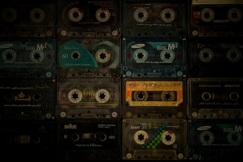 black and blue cassette tape