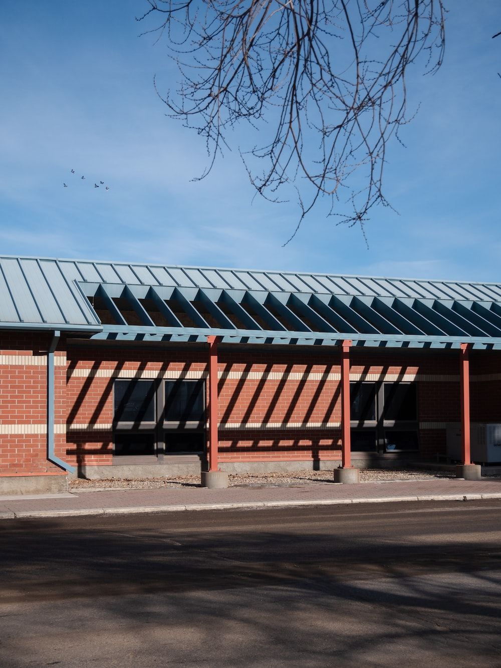 red and gray metal frame building near bare trees under blue sky during daytime