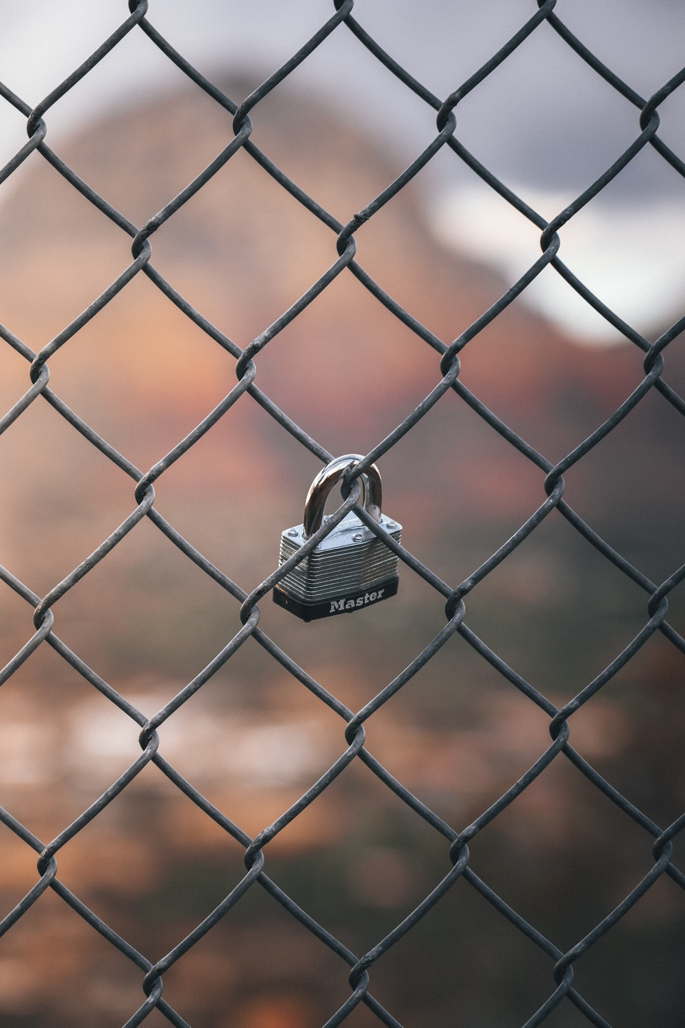 silver padlock on chain link fence