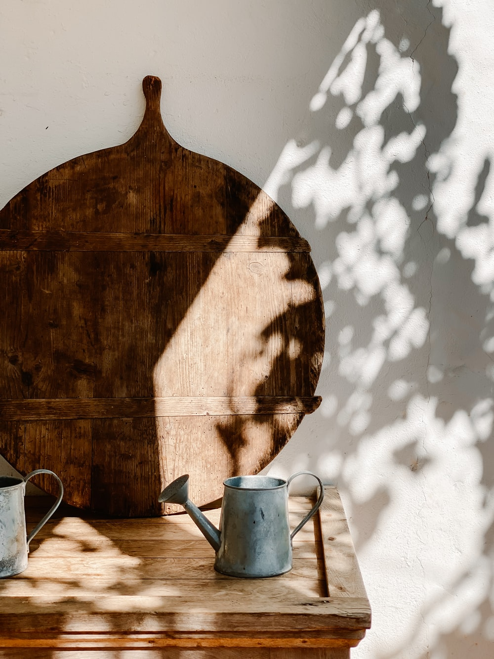 brown wooden bucket on brown wooden table