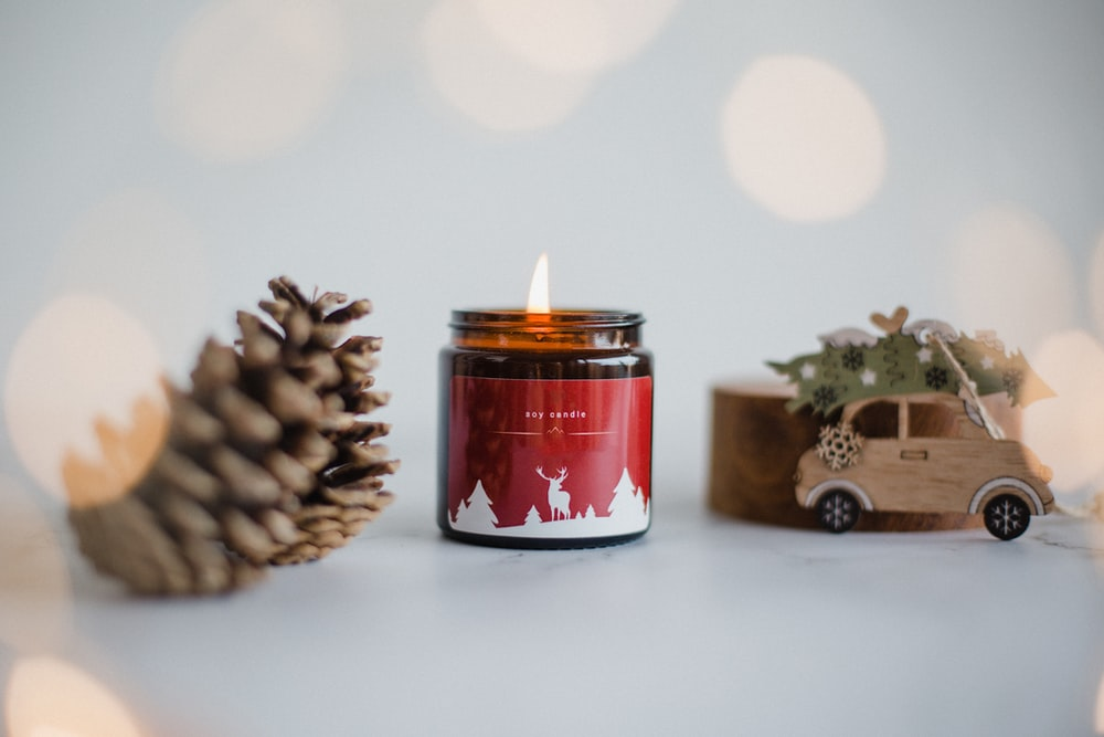 red and white candle holder