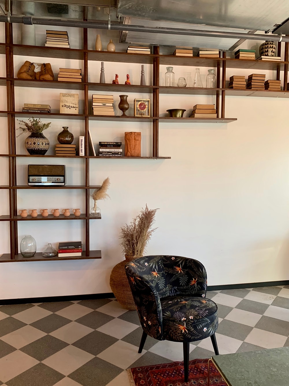brown wooden shelf with brown wooden frames