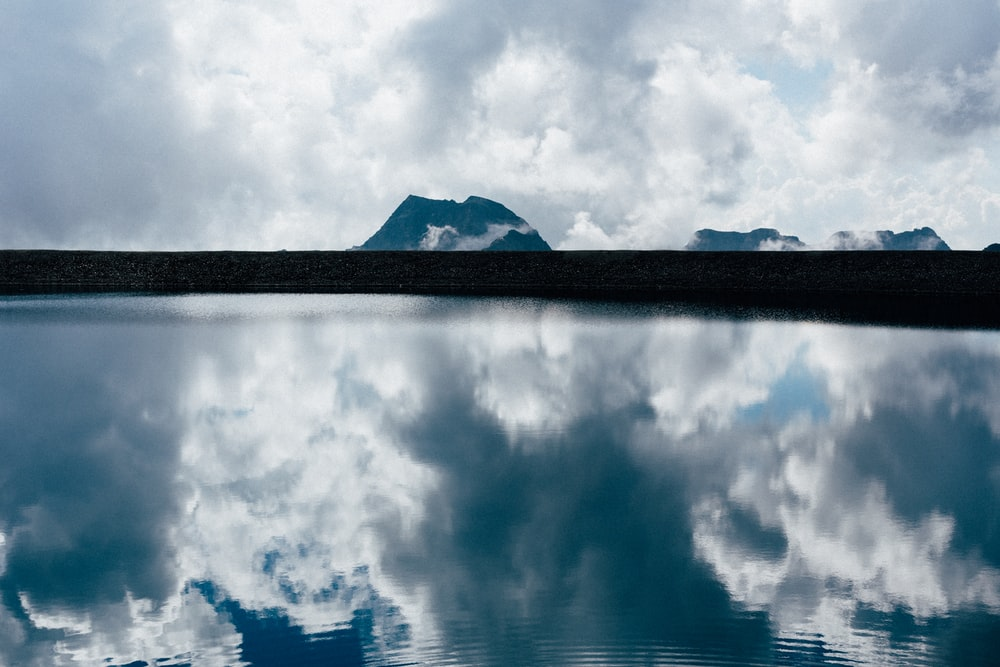 blue sky and white clouds over lake