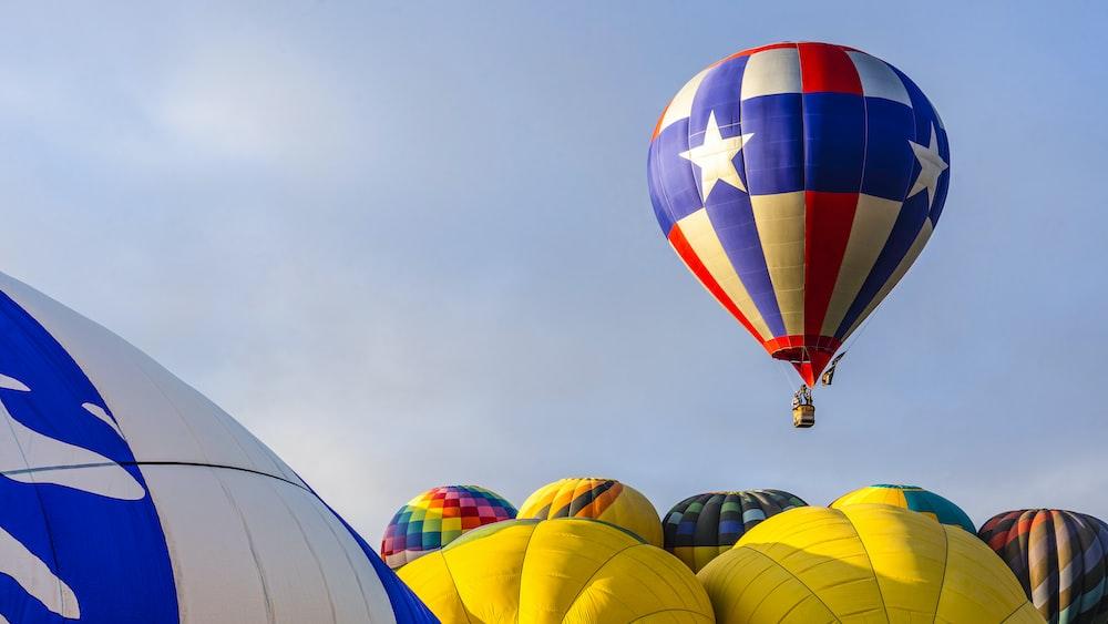 green yellow and blue hot air balloon