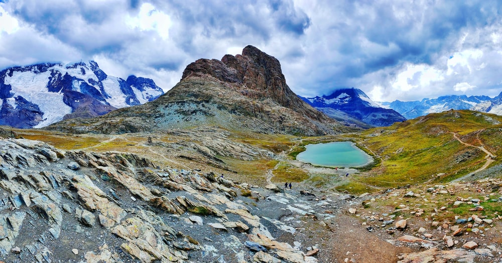 blue lake in the middle of rocky mountains under white clouds and blue sky during daytime