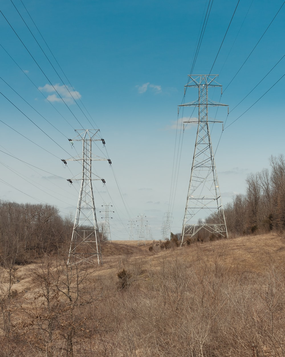 brown grass field with electric wires under blue sky during daytime