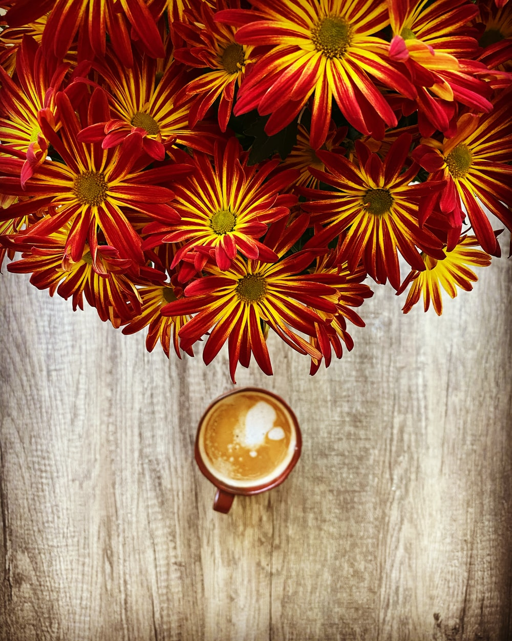 red and yellow flowers on brown wooden surface