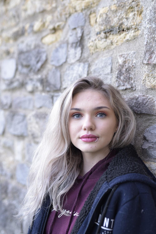 girl in black knit cardigan