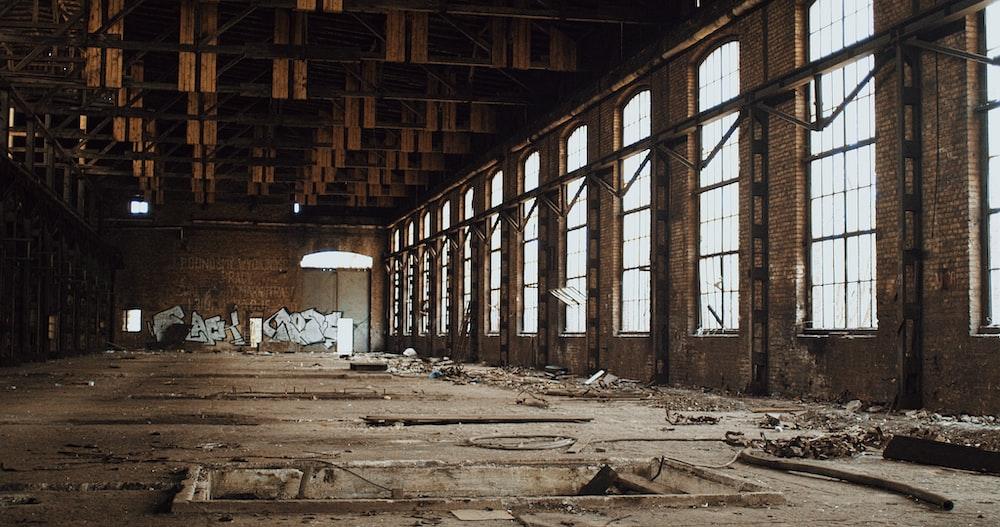brown wooden log inside building