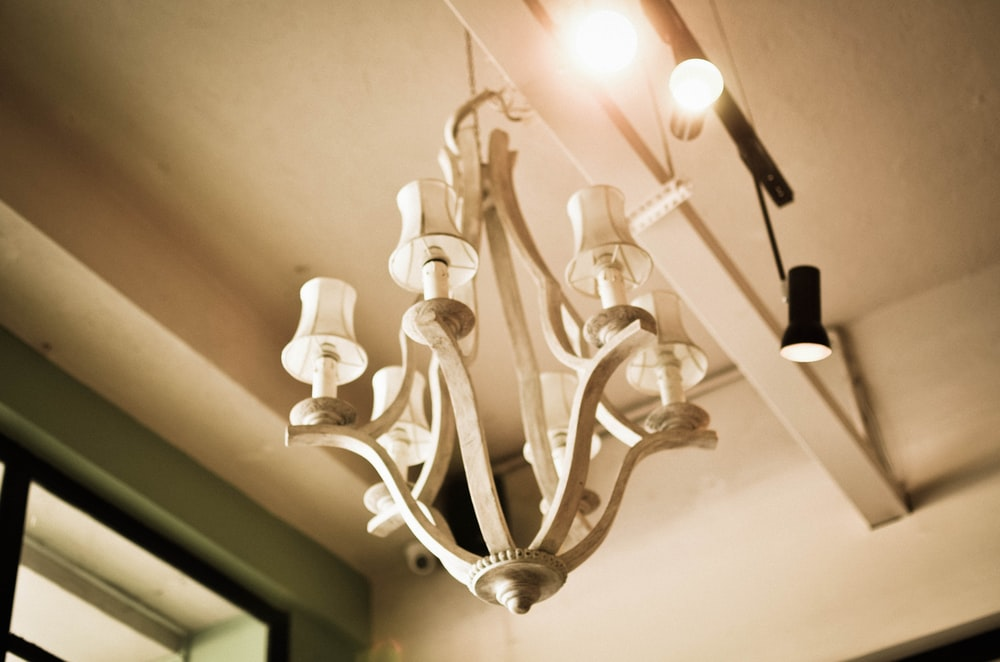 silver and white uplight chandelier
