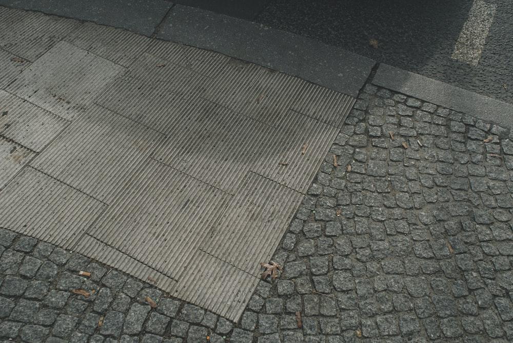 brown and black brick floor