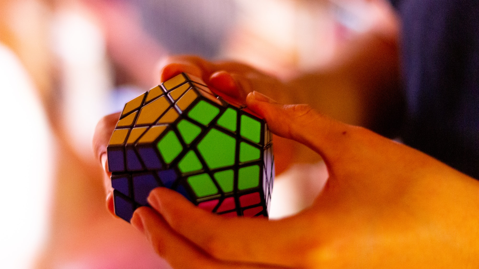 A megaminx (a variation of a Rubik's cube) solved.