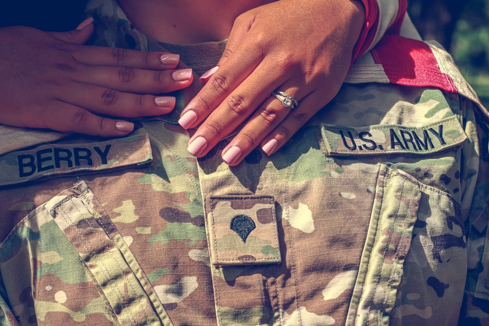 person wearing silver ring and green and beige camouflage pants