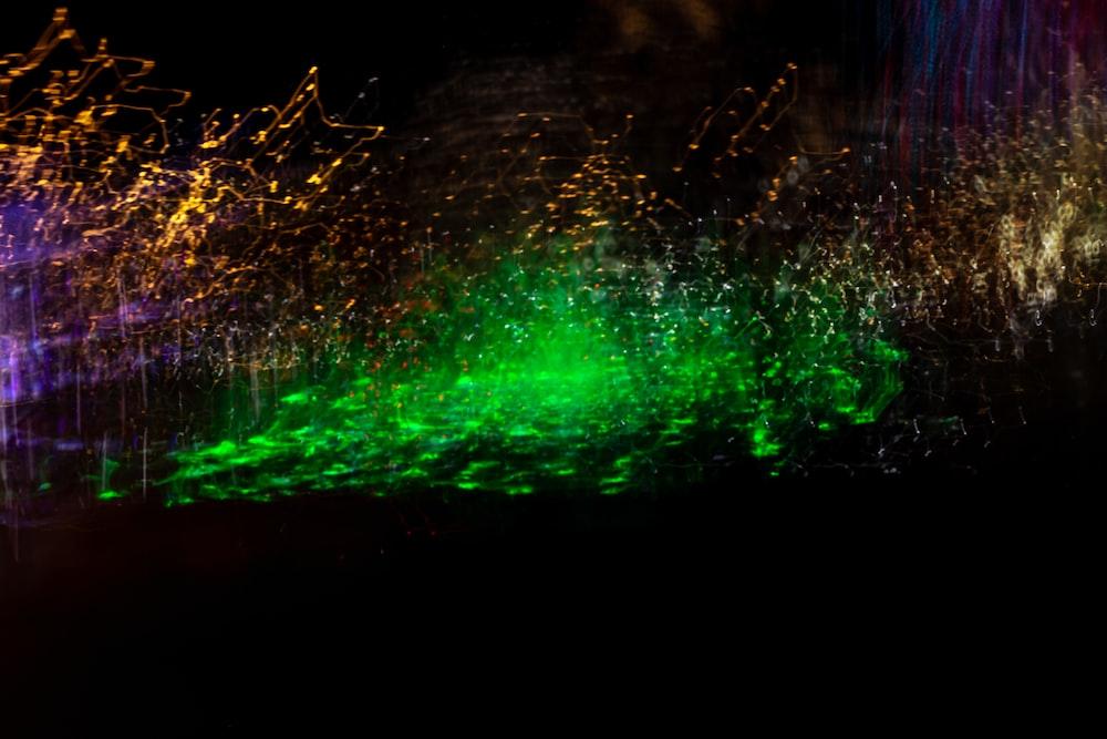 green and white light in dark room