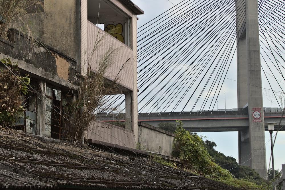 brown concrete building near bridge during daytime
