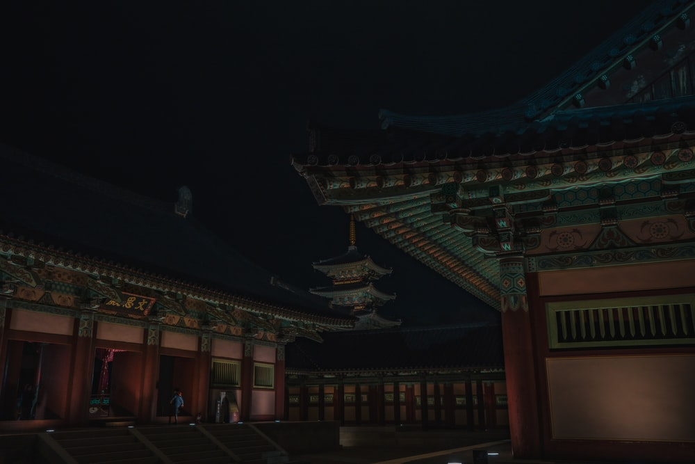 brown and green temple during night time