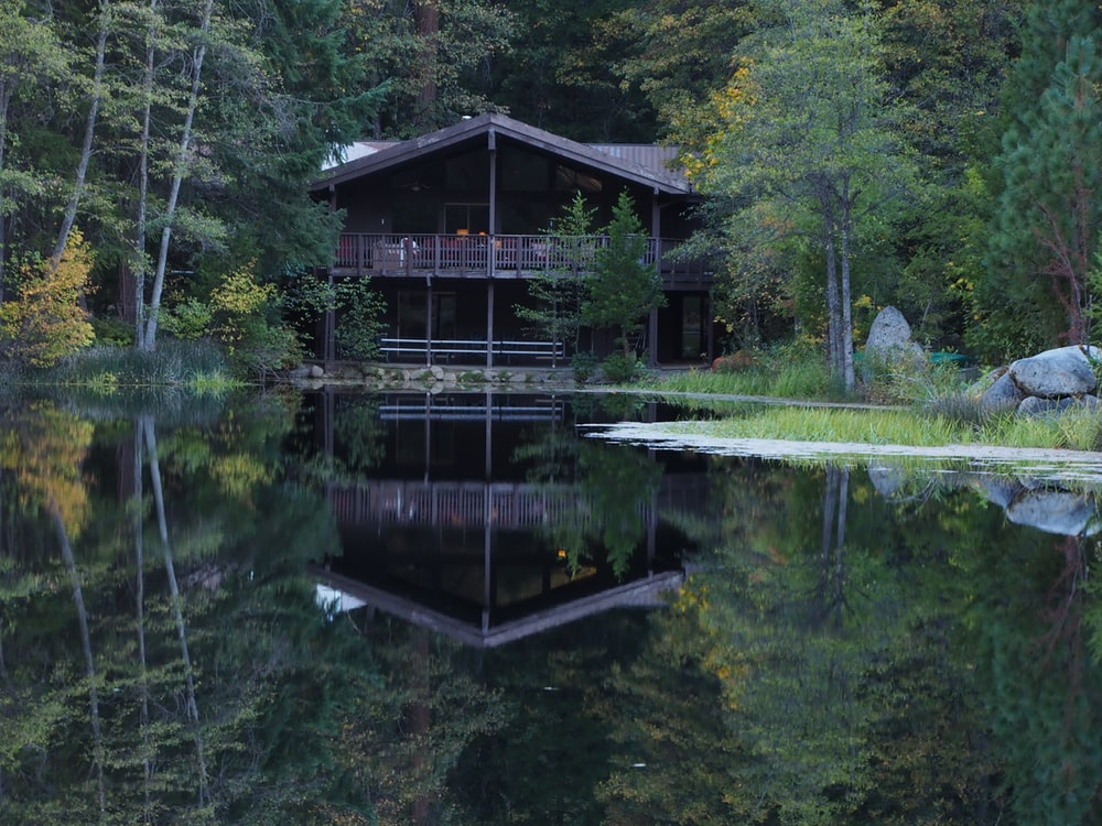 brown wooden house near lake surrounded by green trees during daytime