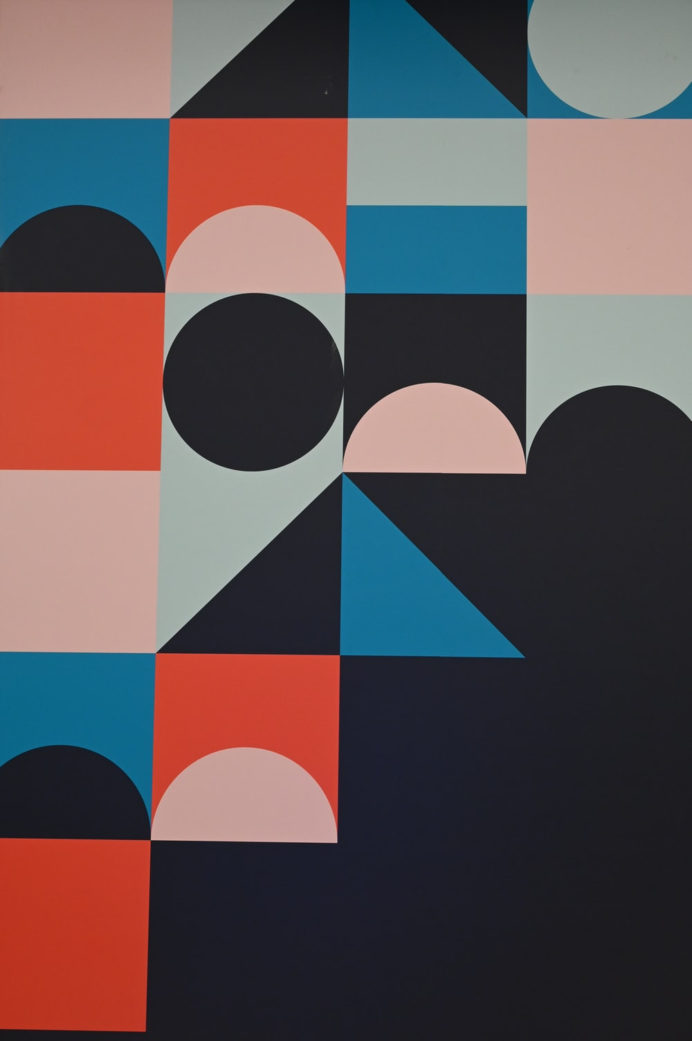 blue red and black abstract painting