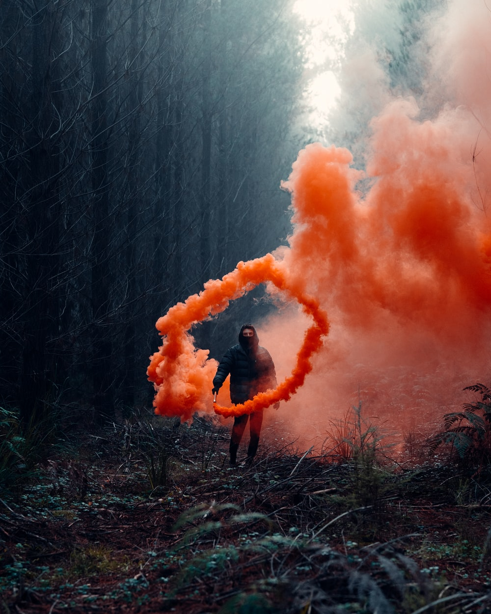person in black jacket standing on brown grass field with orange smoke