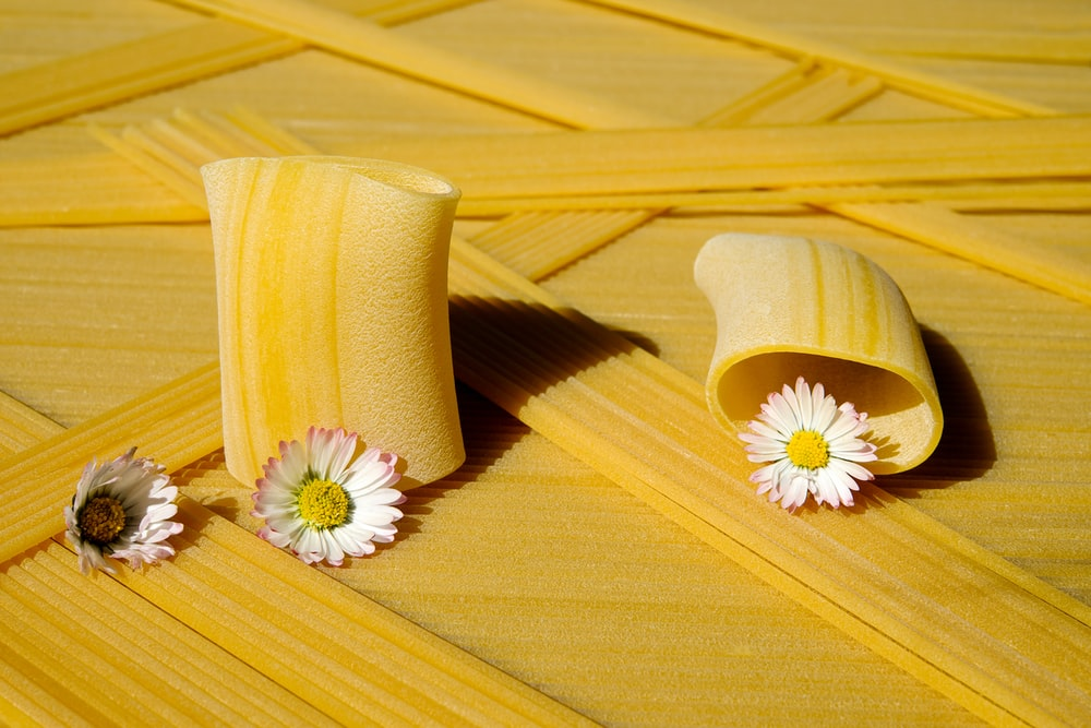 yellow and white flower on brown wooden surface