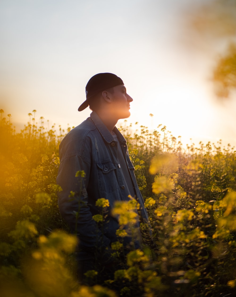 man in black hat standing on yellow flower field during daytime