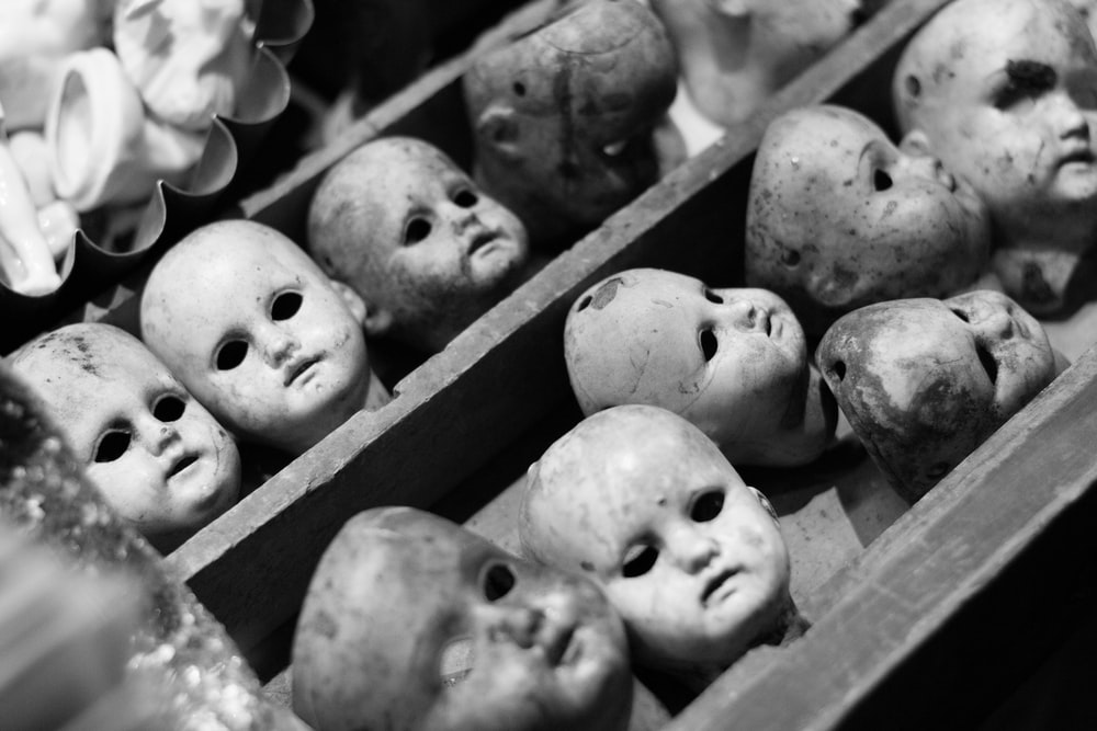 grayscale photo of white skull decors