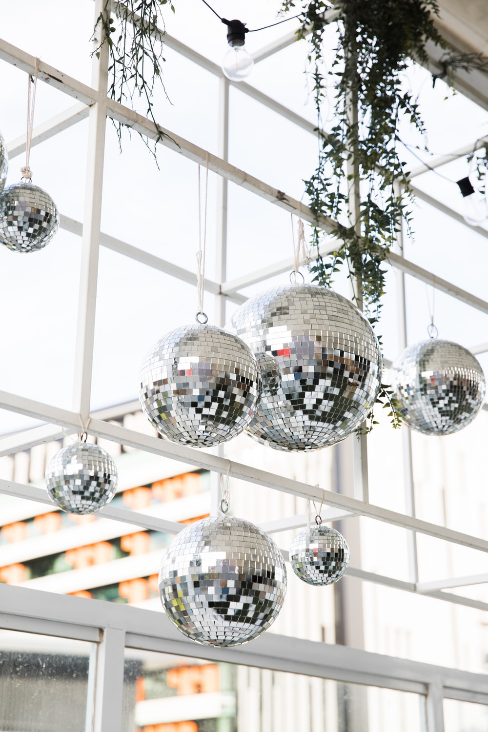 silver and crystal ball ball decors