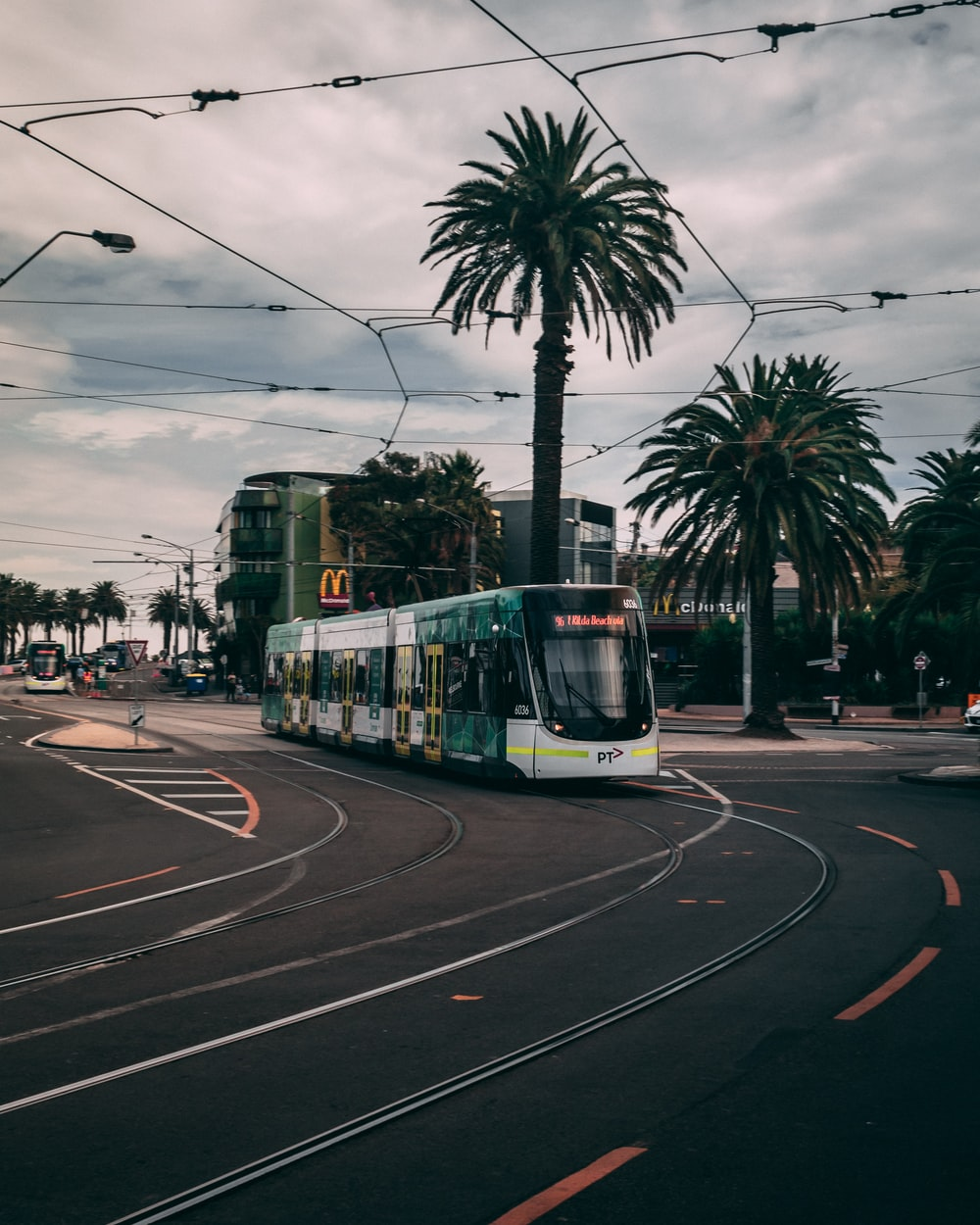 green and white tram on road during daytime