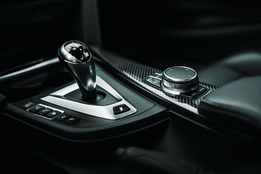 black and silver gear shift lever