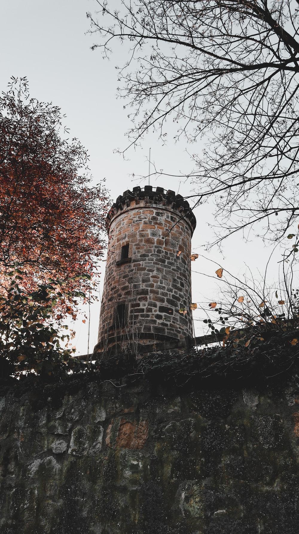 brown brick tower near trees