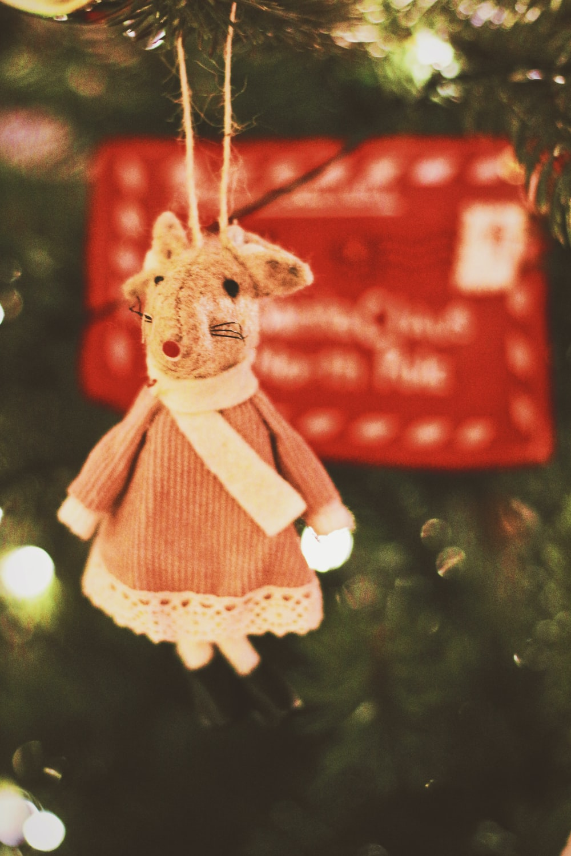 brown bear plush toy hanging on christmas tree