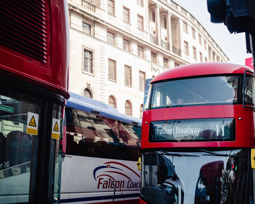 red and black bus on road during daytime