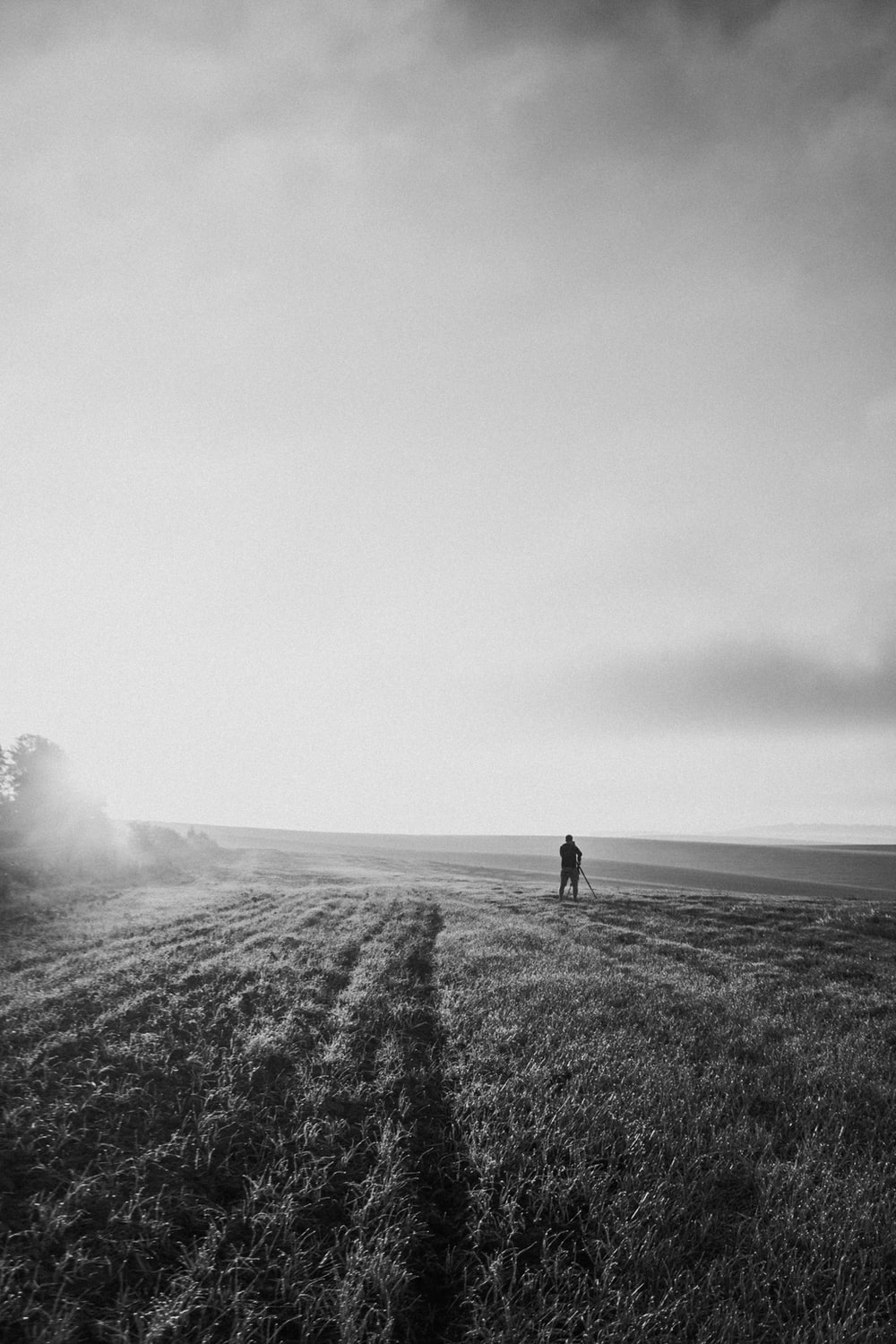 grayscale photo of 2 person walking on grass field