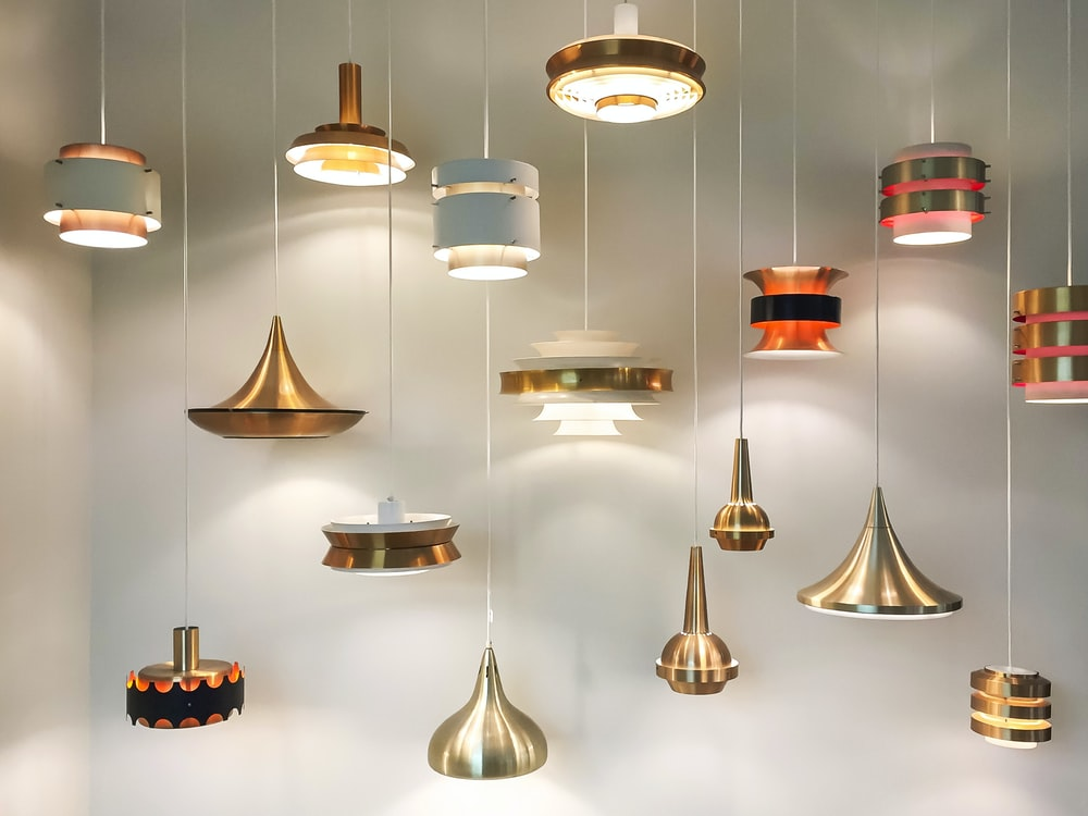 gold and red pendant lamps