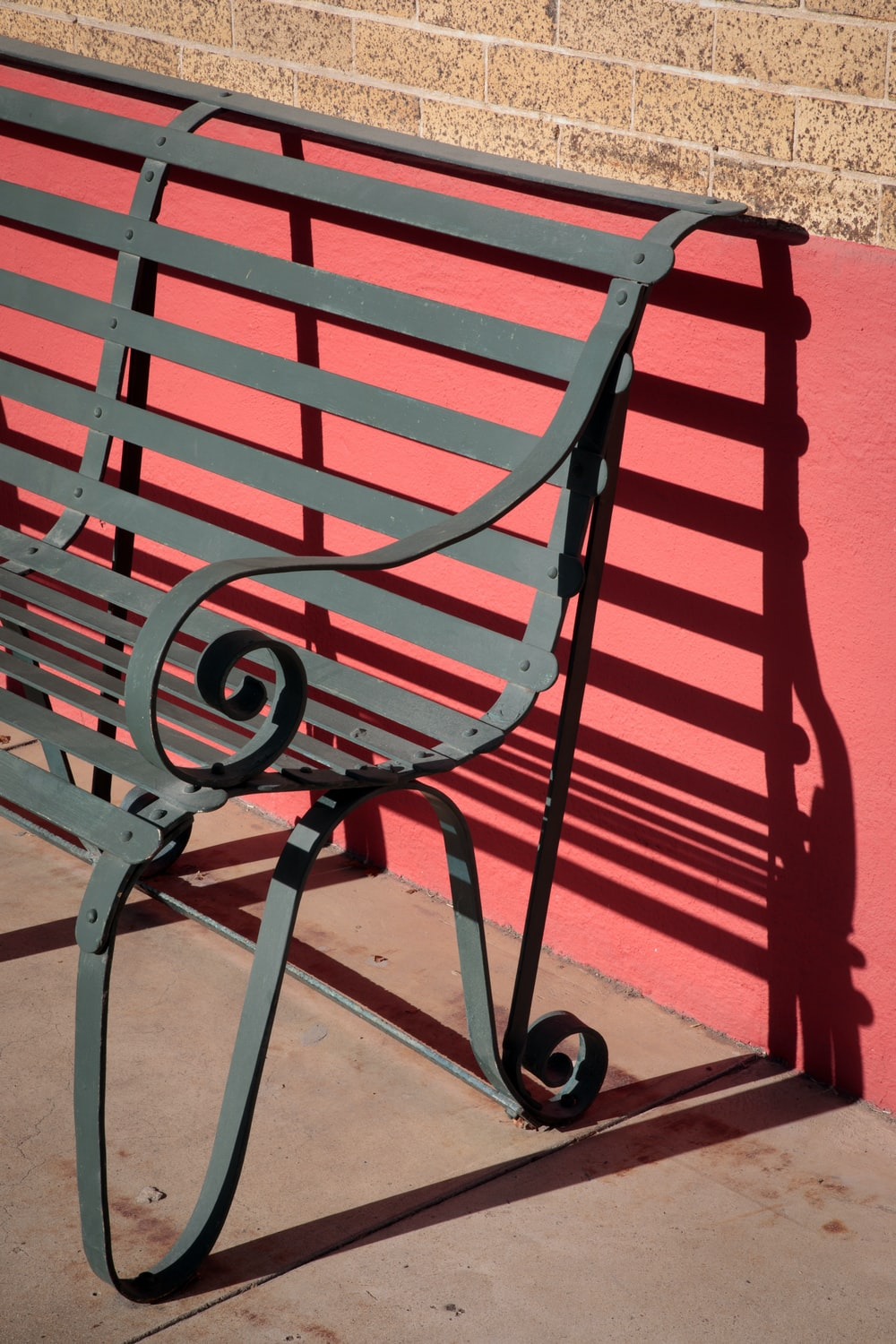 red and black metal bench