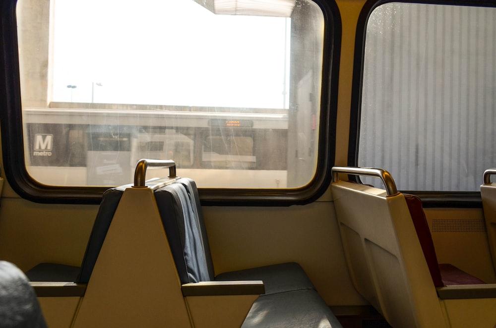 black and yellow train seat
