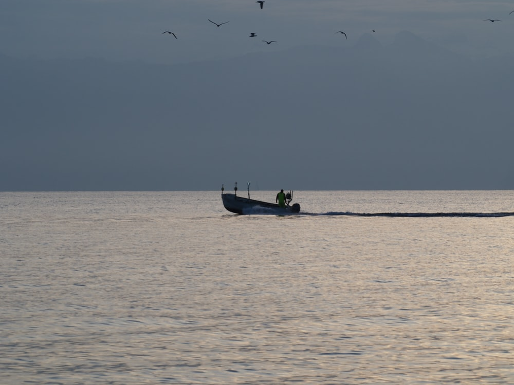 silhouette of man riding on boat on sea during daytime