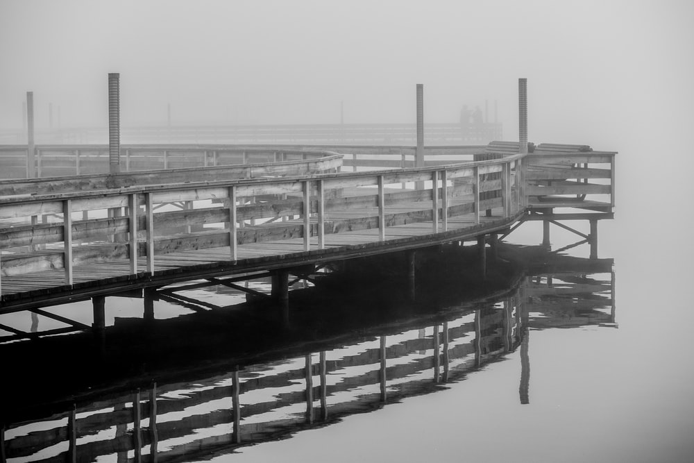 grayscale photo of wooden dock on water