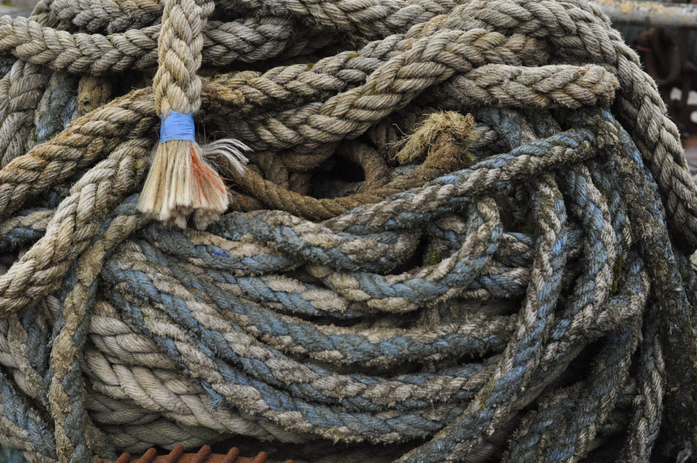 gray rope on white surface