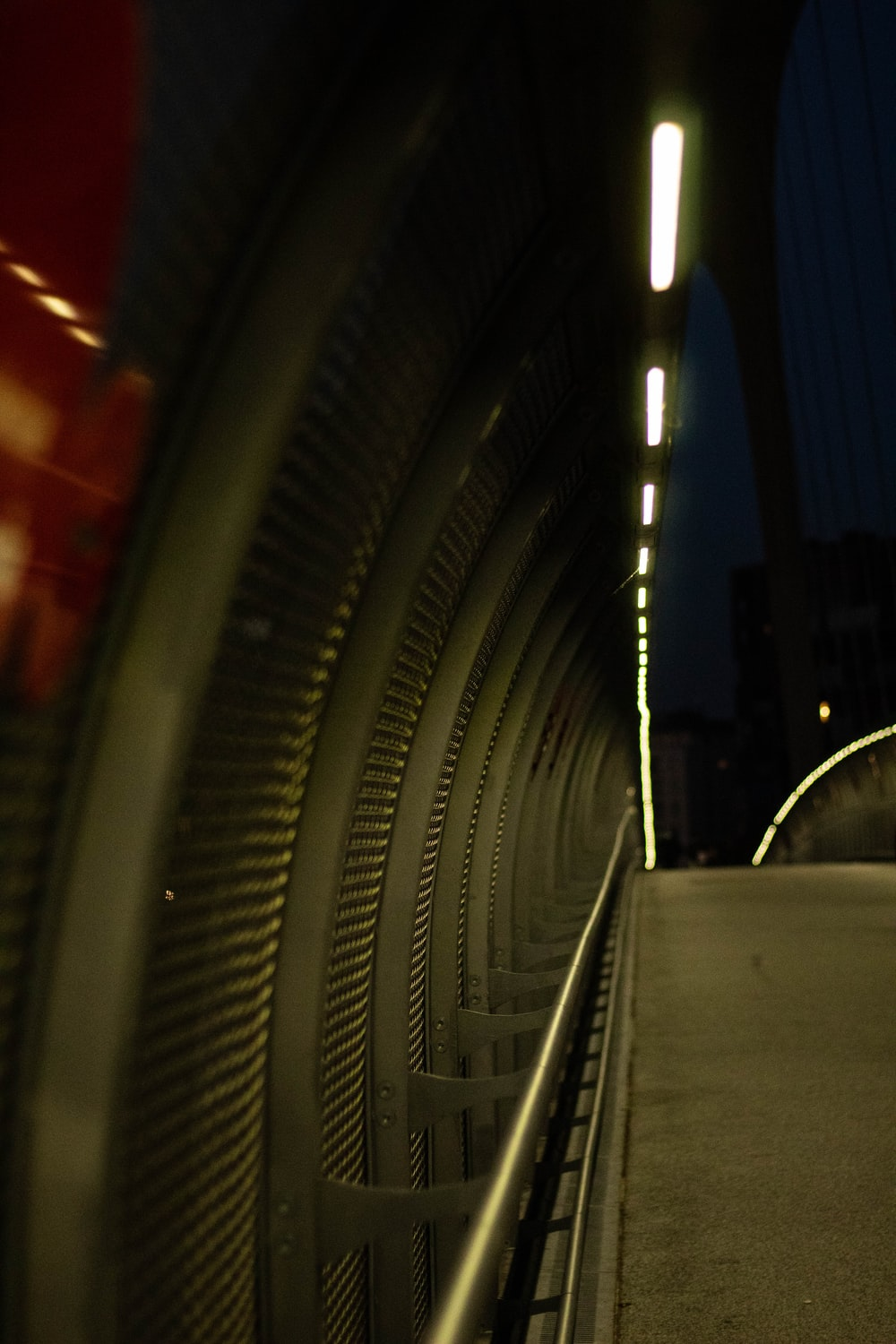 gray concrete stairs with red lights