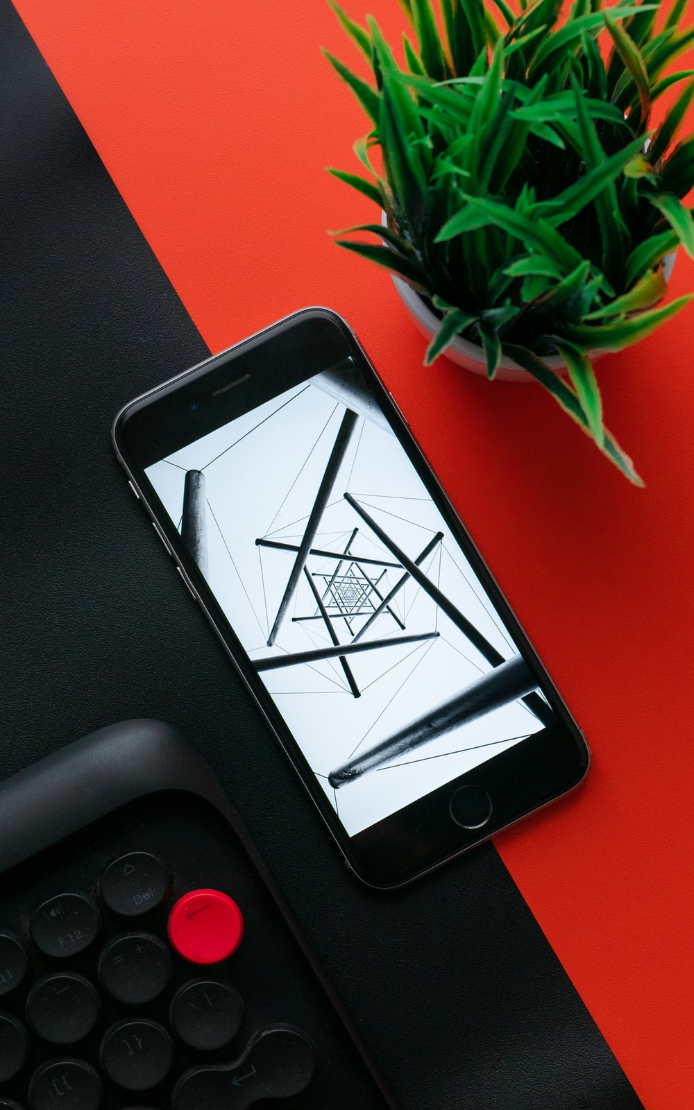 black iphone 5 on black textile