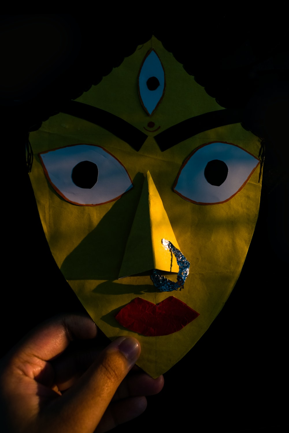 yellow blue and green mask