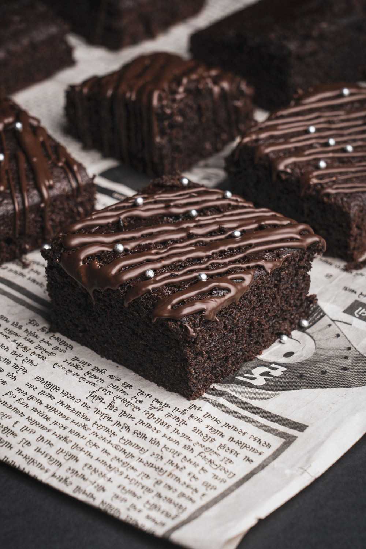 chocolate cake on white paper