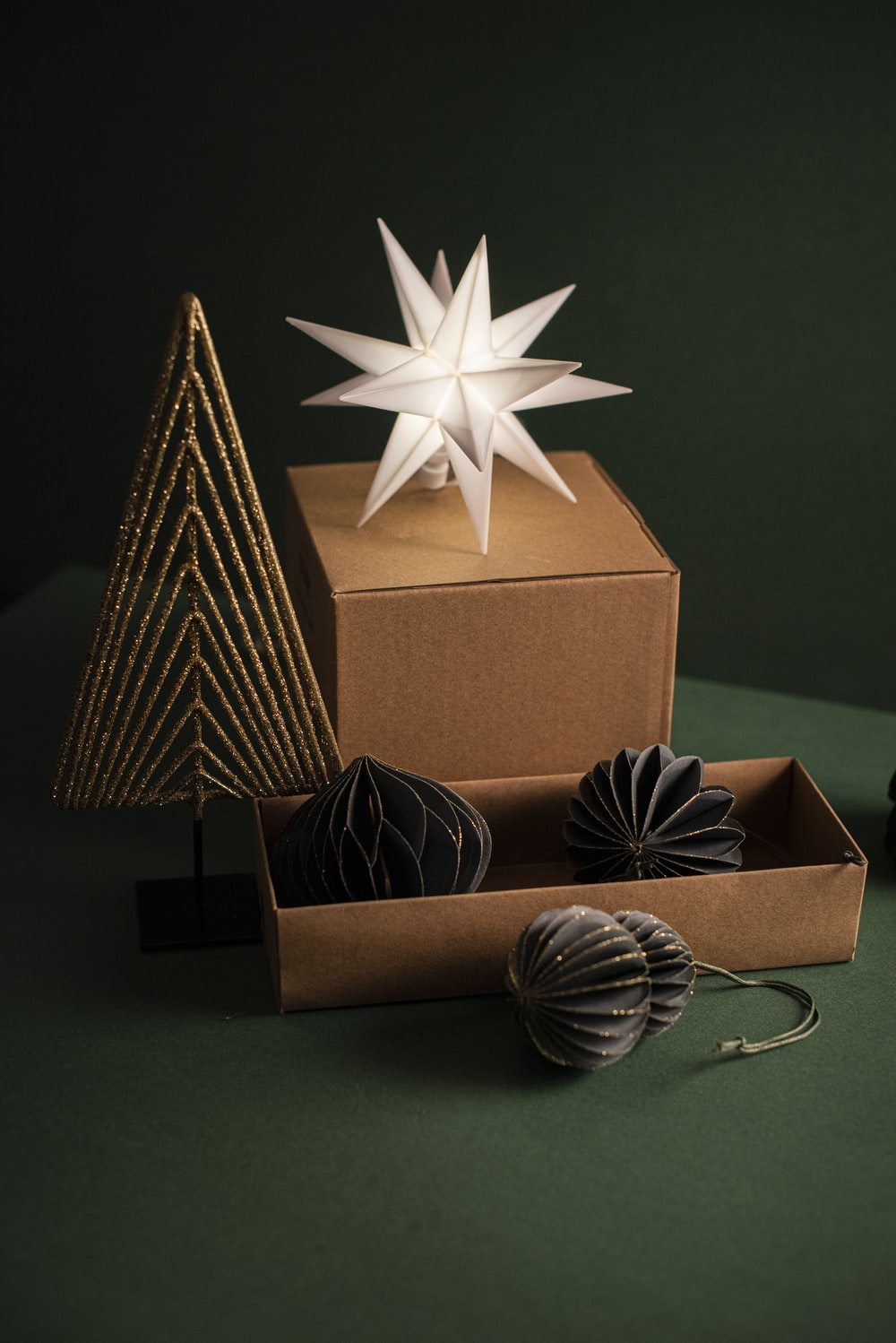 brown and black gift boxes